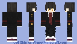 City Highschool boy uniform with golden eyes Minecraft Skin