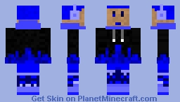 Flaming Gamer (Blue) Minecraft Skin