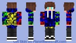 Blue Eyed Blue Multicoloured Hoodie Boy Minecraft Skin
