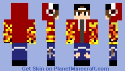gamer boy ripped jeans RED Minecraft Skin