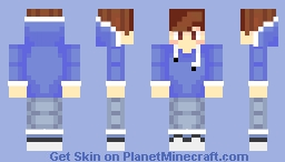 Cute Boy In A Blue Hoodie And Jeans Minecraft Skin