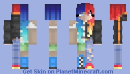 Fire and Water Girl Minecraft Skin