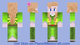 Medieval Civilian Girl with Green Dress Minecraft Skin