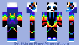 Rainbow panda gamer Minecraft Skin