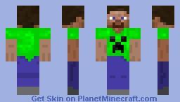 Steve in Creeper T-Shirt Minecraft Skin