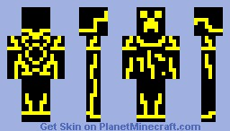 Yellow Tron Creeper Minecraft Skin