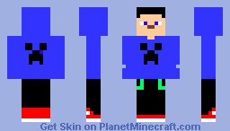 Men with Creeper T-Shirt   (BLUE) Minecraft Skin