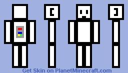 black white cube robot Minecraft Skin