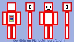 red white cube robot Minecraft Skin