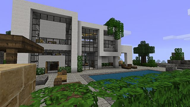 Modern House 2 - View from the backside and pool area.