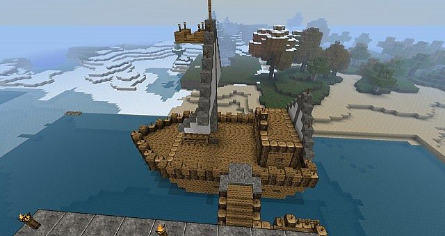 Our new ship, near spawn!