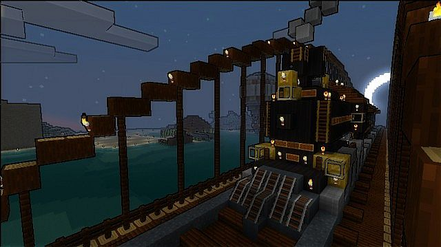 Train On A Bridge And Train Station Minecraft Project