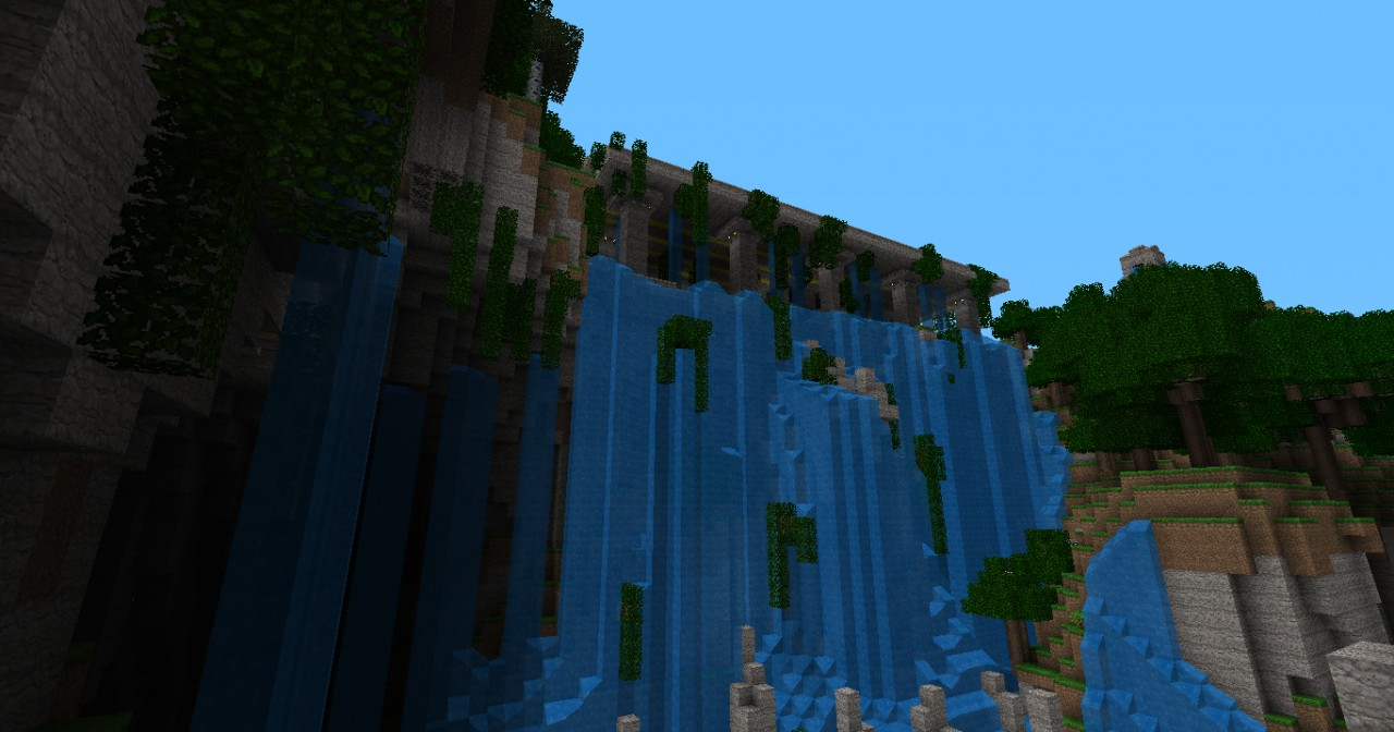 how to make a big waterfall in minecraft