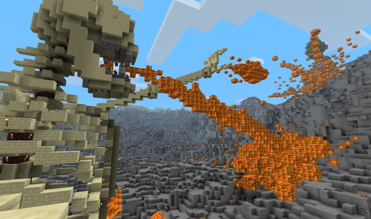 Angry, lava-vomiting skeleton in a hell hole  Minecraft Project