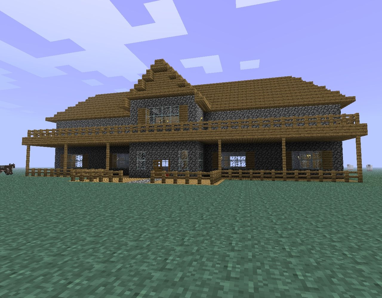 Cobblestone mansion minecraft project for Cobblestone house