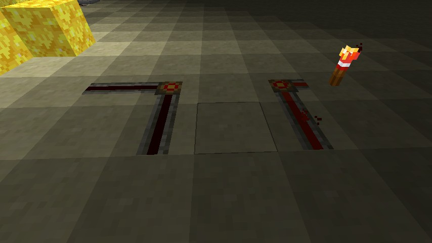 Updated redstone wire, both off and on states shown.