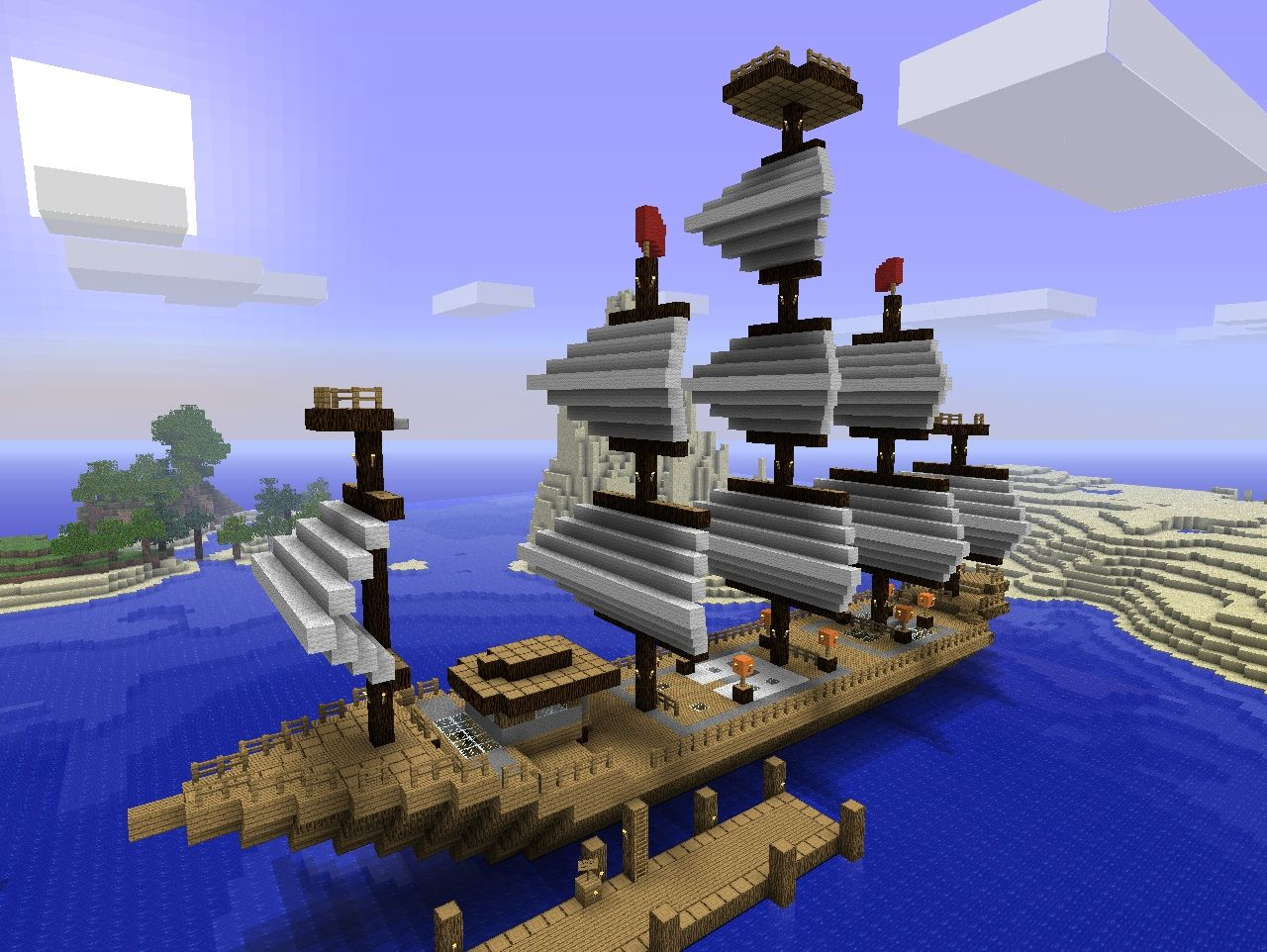 Two Awesome Ships on Minecraft Castle Blueprints