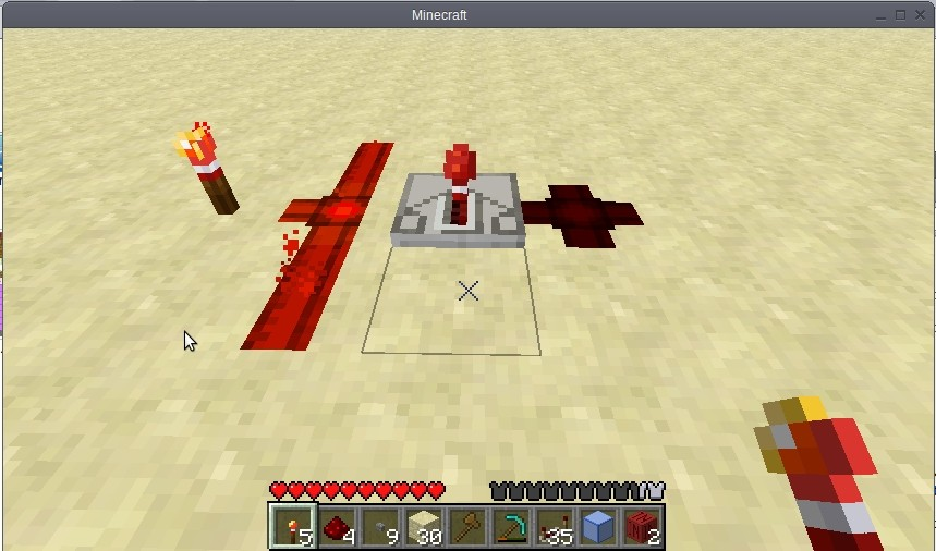 The repeaters and torches. Redstone wire has been changed, view other screenshot.