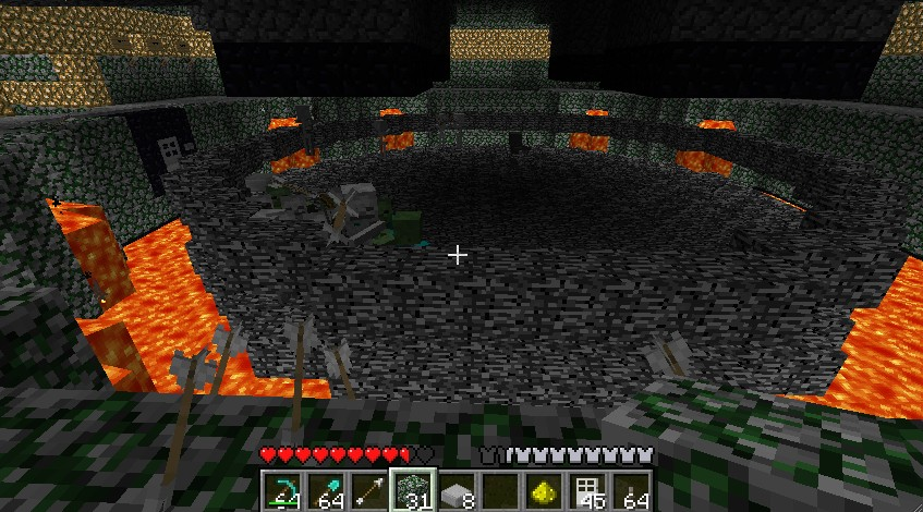 Made the arena out of bedrock so creepers cannot destroy it, this shows skeletons/creepers/zombies in there.