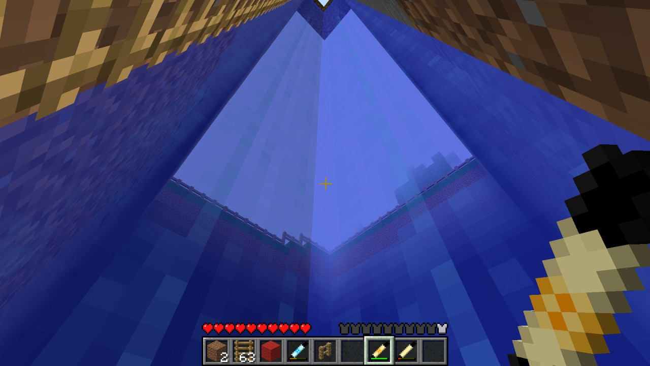 This used to be a diamond mine. Now it is a swimming pool. (filled with water using the Reinforced Building Magic Wand)