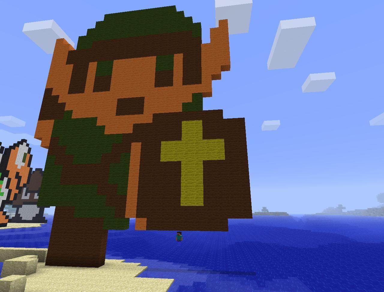 8-Bit Link pixel art Minecraft Map