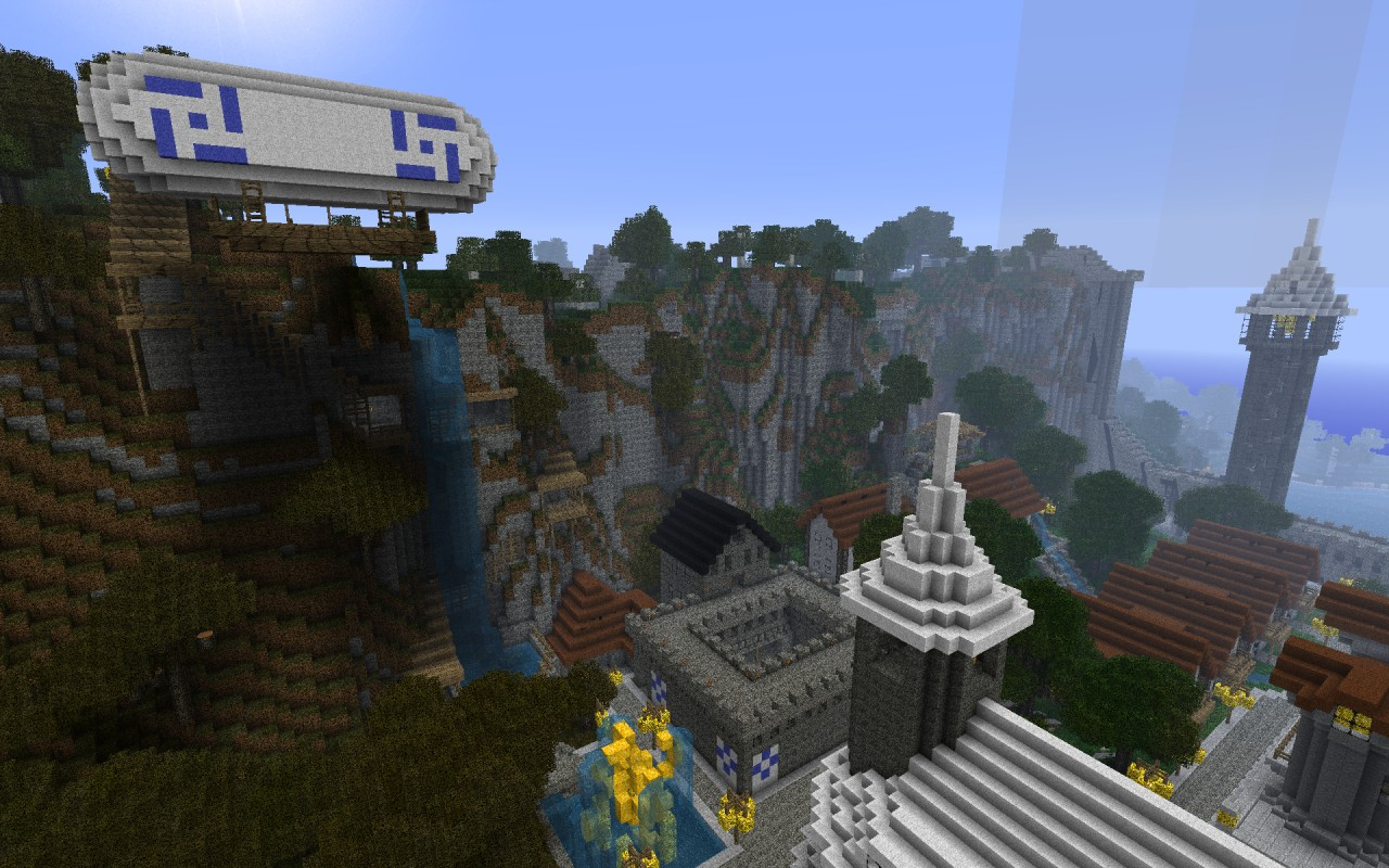 Mountain behind the castle and the Airship