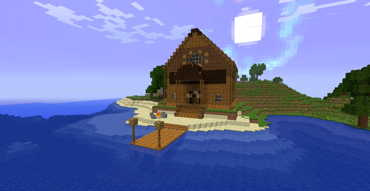 Huge Wooden House With Dock Minecraft Map