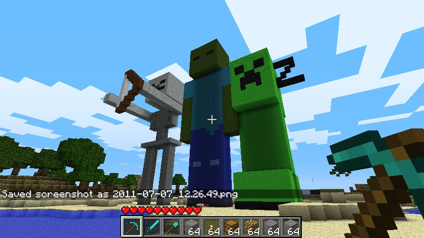 Make a giant creeper skeleton and zombie minecraft project for Zombie build