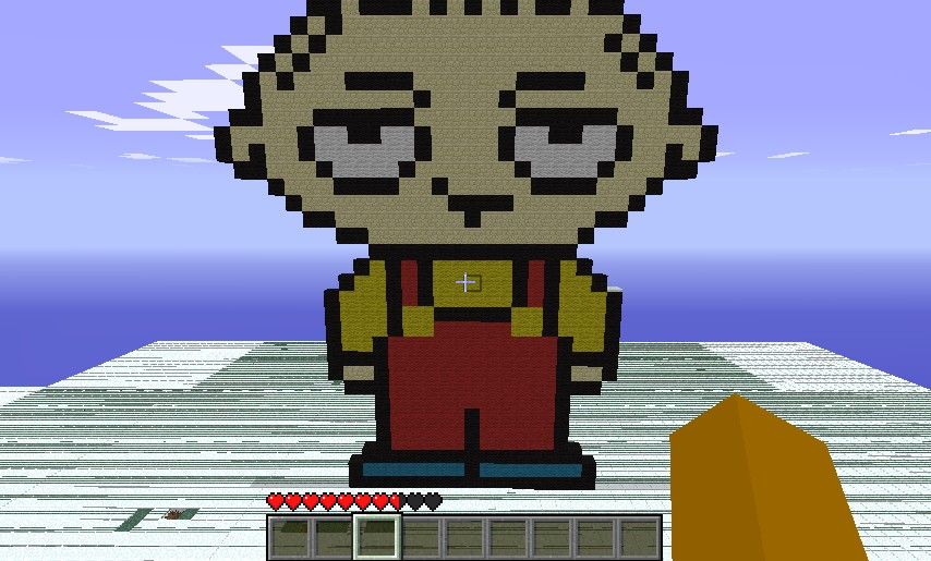 Pixel Art Stewie And A Creeper House Minecraft Project