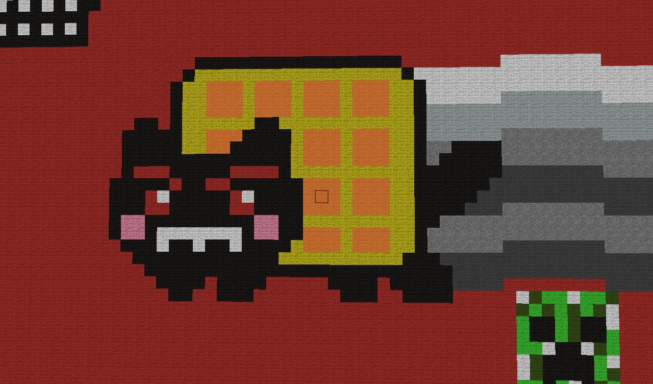 Minecraft Pixel Art Tac Nayn Cat - Hot Girls Wallpaper Evil Nyan Cat Minecraft Grid