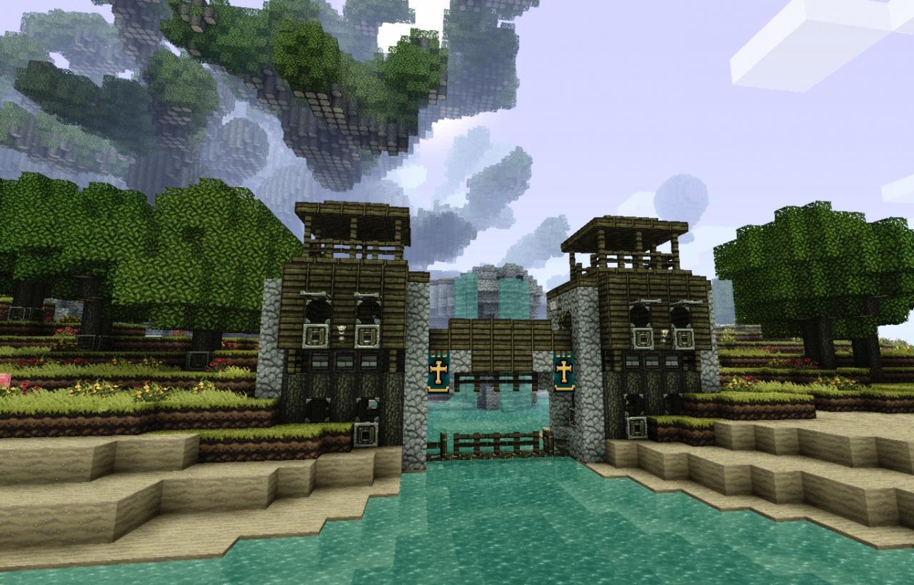 Minecraft working portcullis gates on PirateCraft