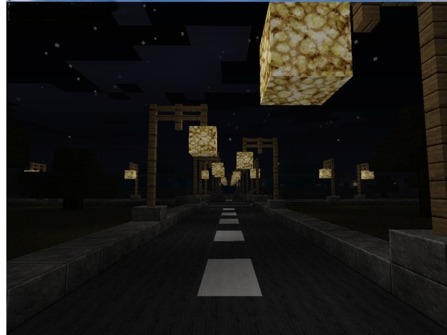 On the street, glass lamp posts turn to glowstone at night.