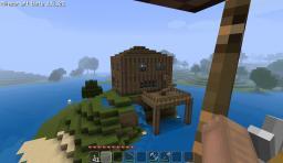Big Log House on an Island Minecraft Map & Project