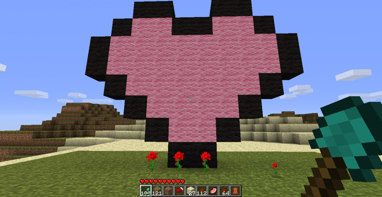 how to build a small heart in minecraft