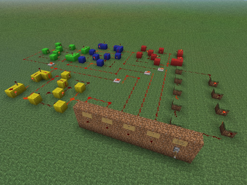 Binary Counter Minecraft Project Basic Circuitry Redstone Wiki An Overhead View From The Front Of All Behind Display