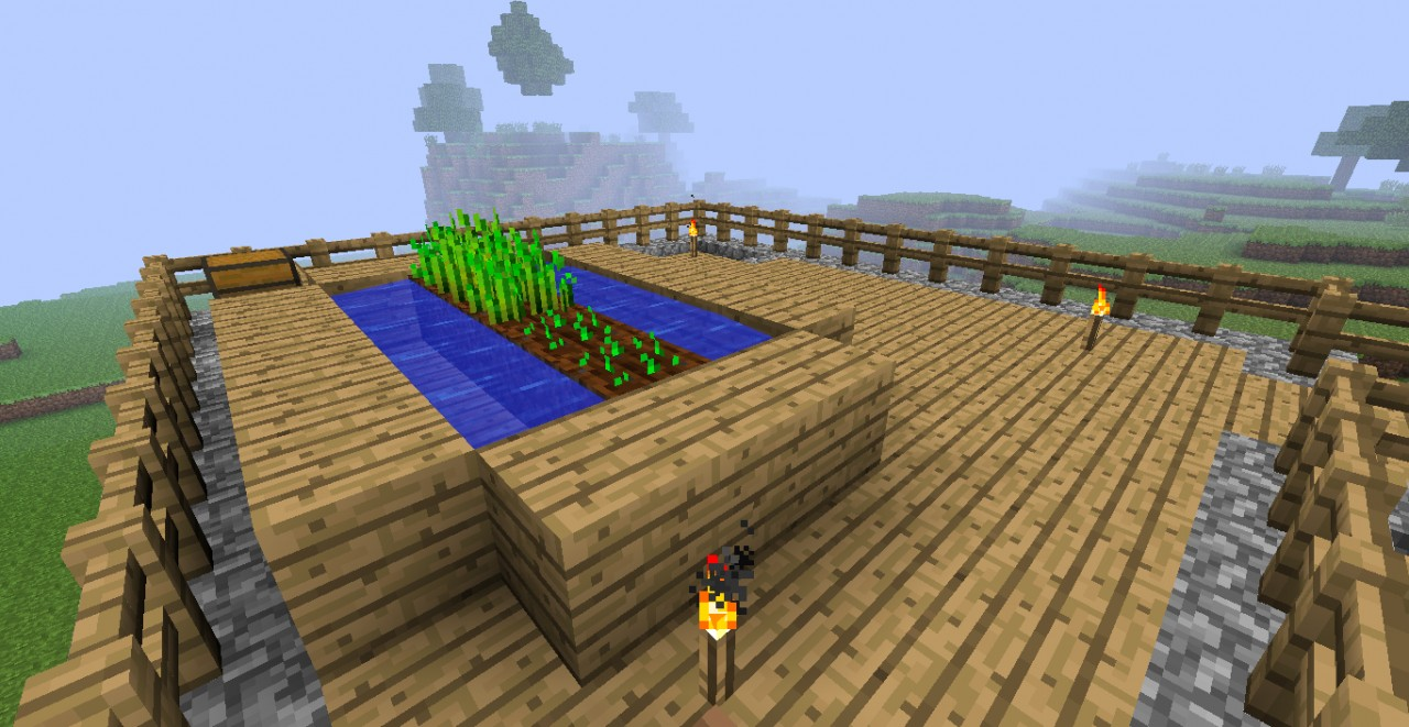 Top Floor view. You can see the primitive wheat farm (Water placement is restricted :( So it's not very efficient)