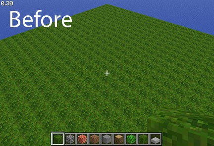 Without Natural Textures Mod there is a distinct quilt-like pattern.
