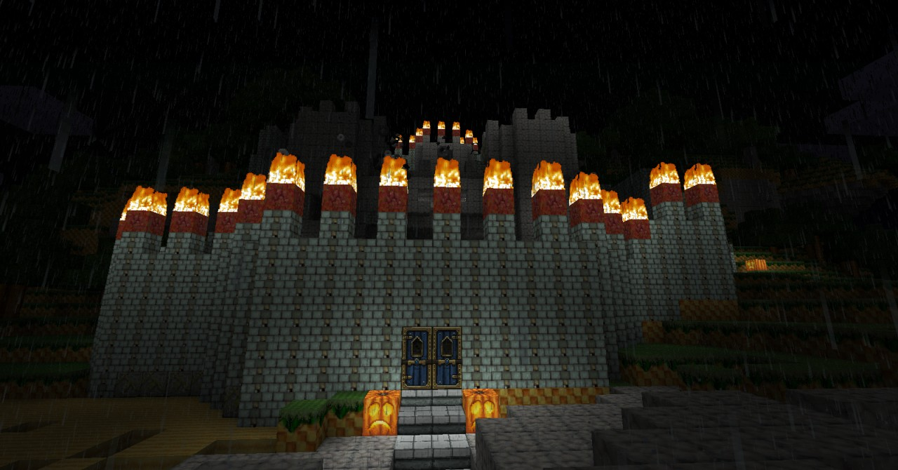 A castle at night.