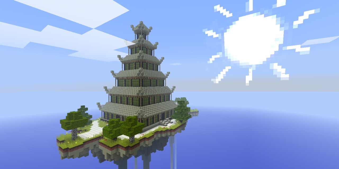 Japanese Pagoda On A Floating Island Minecraft Map