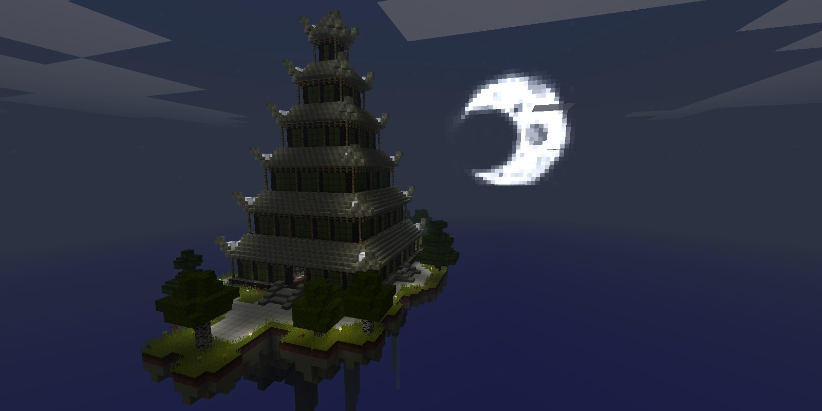 japanese pagoda on a floating island minecraft project