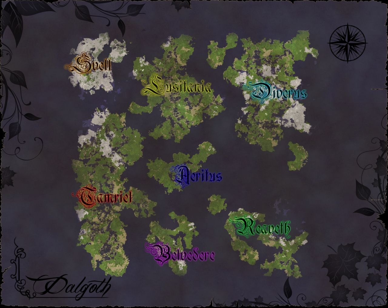 The world map, Aeritus in the dead center.
