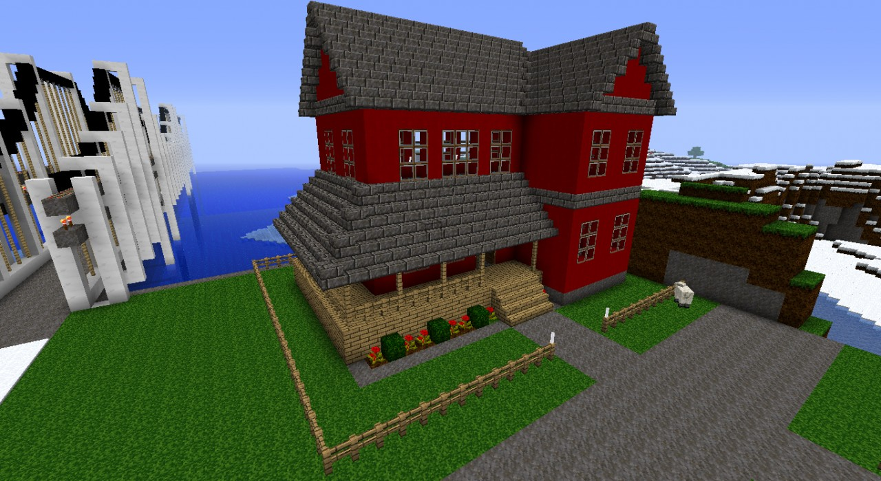Red modern house Minecraft Project