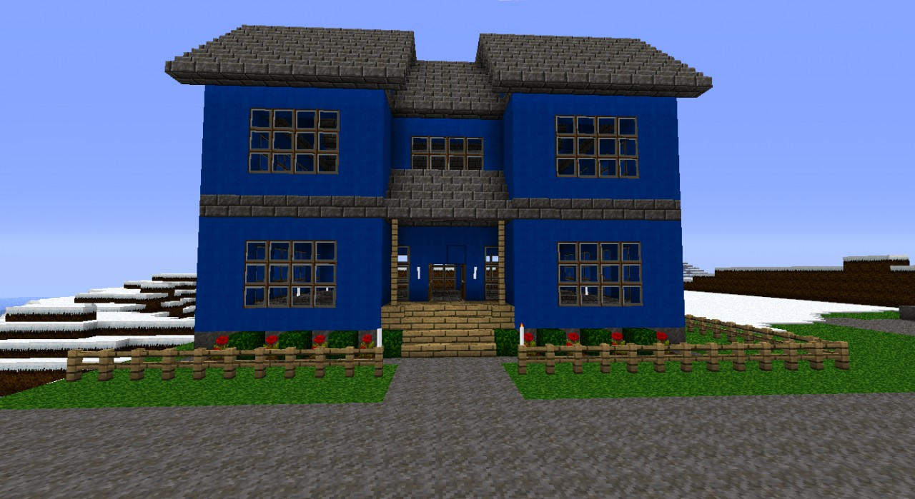Blue modern house minecraft project for Blue modern house
