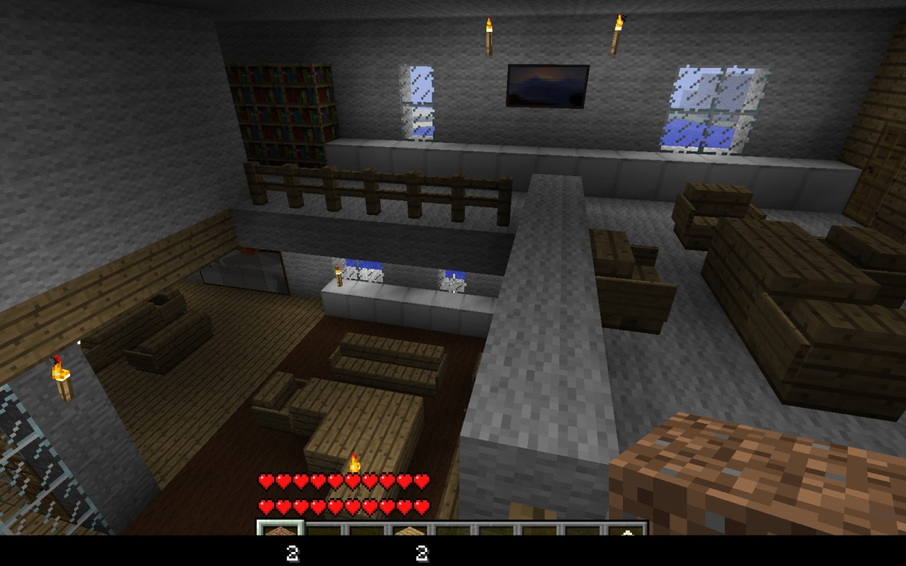 Drunk 39 s modern lake house minecraft project for Modern living room minecraft