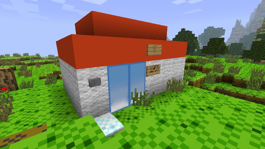 how to make a pokemon center in minecraft