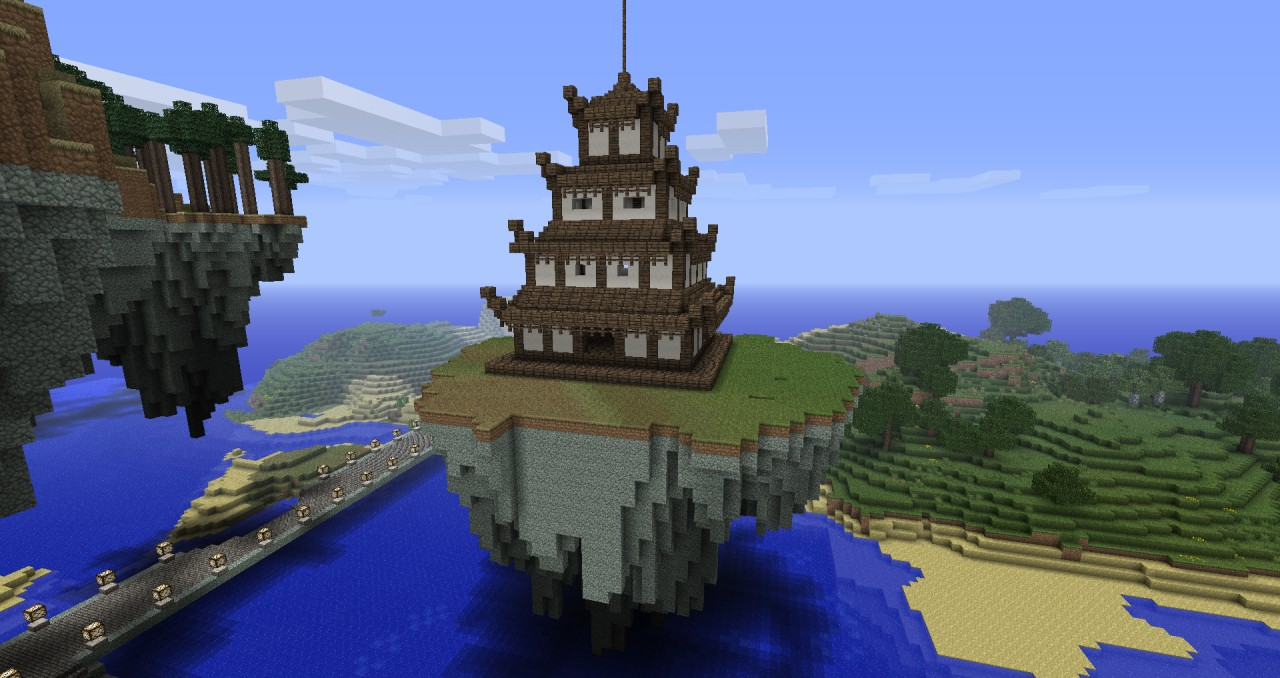 Japanese esque floating Spa. Minecraft Project