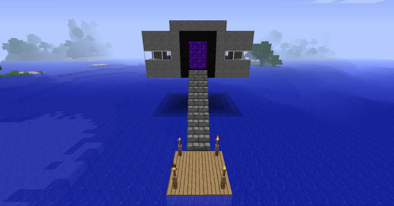 House With A Nether Portal Door Minecraft Project
