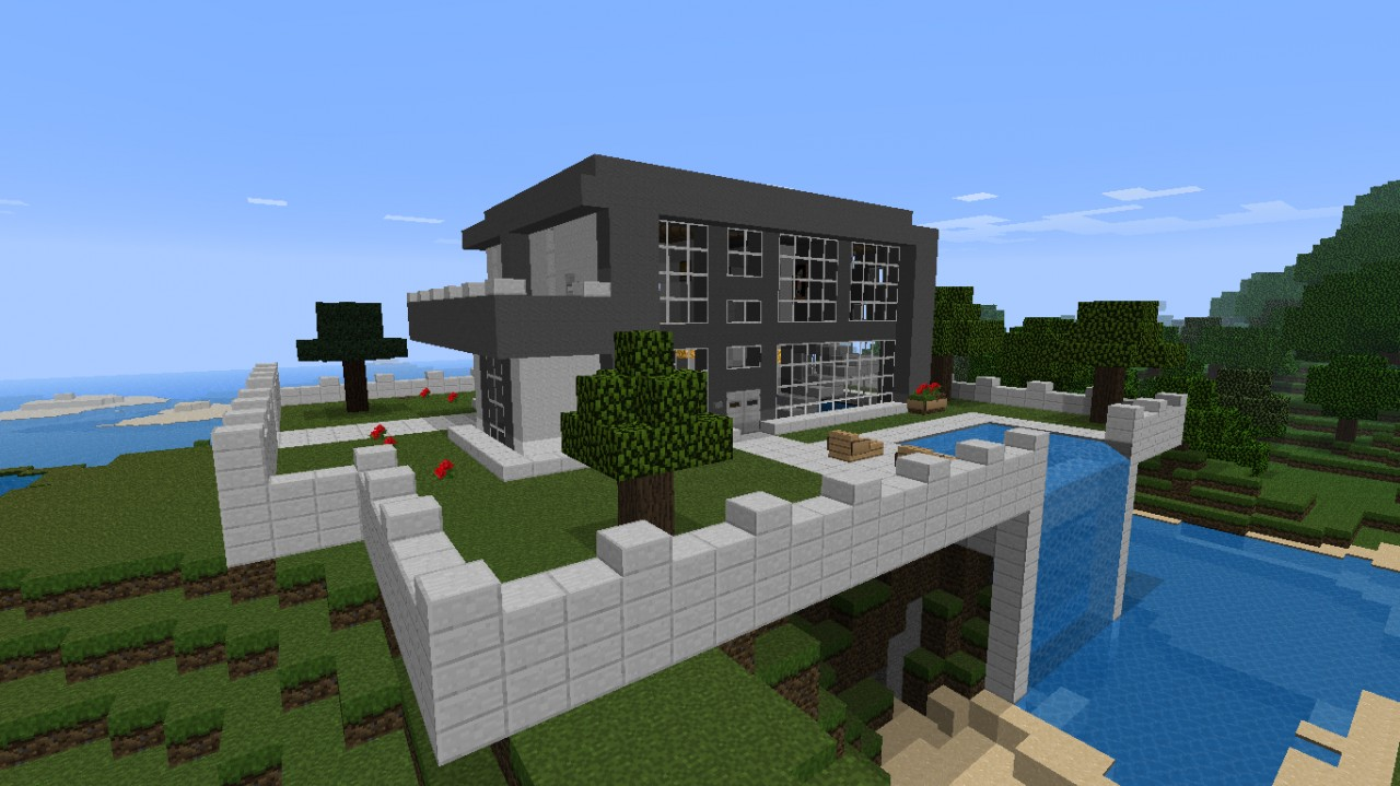 nice modern house with waterfall minecraft project