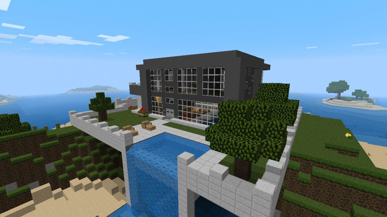 Nice Modern House With Waterfall! Minecraft Project