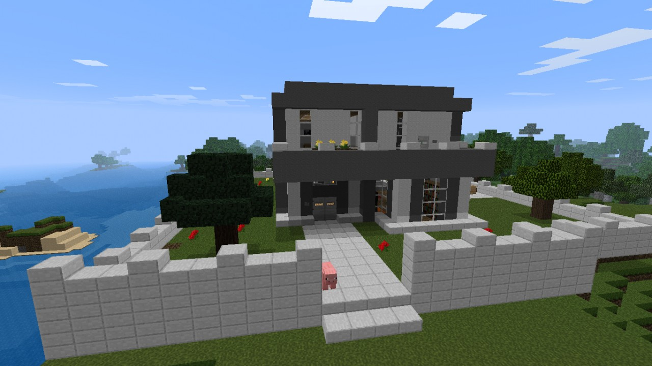 Nice modern house with waterfall minecraft project for Minecraft modern house 7x7